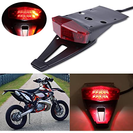 NATGIC Motorcycle Tail Light Multifunctional License Plate Mount Tail Light with Bracket Brake Running Rear Tail Light
