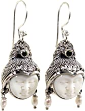 NOVICA Carved Cow Bone Dangle Earrings with Cultured Freshwater Pearls and Peridot, Day Dreamers'