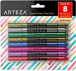 Arteza Wine Glass Markers, Set of 8 Metallic Pens, Quick-Drying Erasable Markers for Wine Glasses, Glass Boards and Other Surfaces, For Decorating, Brainstorming, and Labelling