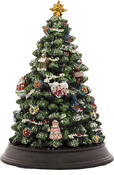 Musicbox Kingdom Decorated Muiscal Tree Is Lighted Up And Plays 8 Electronic Christmas Carols Height 30 Cm