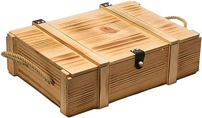 Kistenkolli Altes Land - Caja de Vino (Varias capacidades: para 1, 2, 3, 6 o 12, veteada, con virutas), Madera, Naturaleza, 3er Weinbox: Amazon.es: Hogar