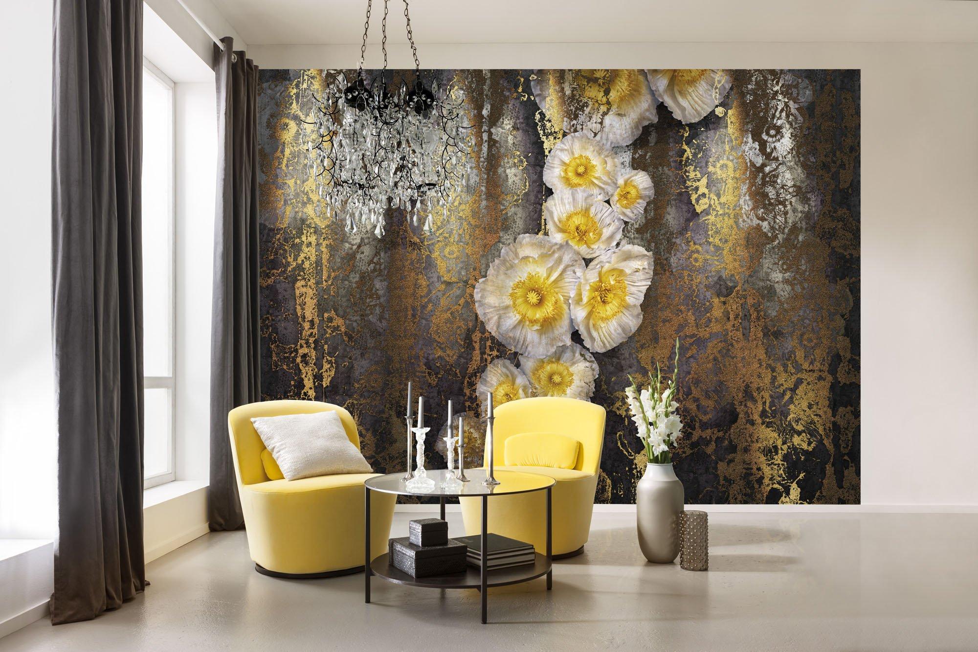 flower wallpaper mural amazon co ukkomar 8 963 serafina flower floral wallpaper mural, yellow, 368 x 254 cm