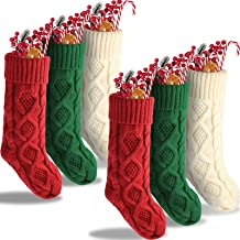 6 Pieces Christmas Stockings Cable Knit Stockings 18 Inches Fireplace Hanging Stockings Large Personalized Xmas Stockings ...