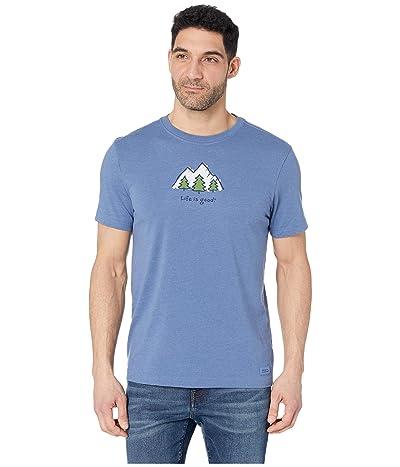 Life is Good LIG Mountains Vintage Crushertm Tee (Heather Vintage Blue) Men