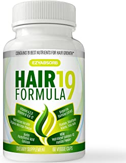 EzyAbsorb Hair Vitamins - Scientifically Formulated to Nourish Hair Follicles & Scalp for Thinning Hair, Faster New Hair Growth. Contains Hair Growth Herbals for Longer, Stronger, Thicker Hair