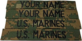 4 piece Woodland Marpat Name Tape Sew-On, Custom - US Marines USMC Tape, Customized