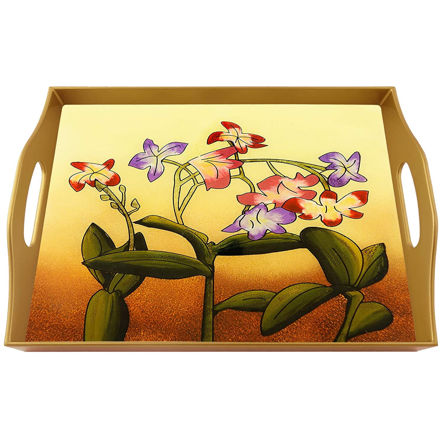 Bed tray Seasonal Wrap 4 years warranty Introduction - Vintage flowers Glass Rectangular Hand Painted Tray