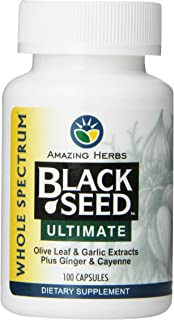 Amazing Herbs Black Seed Ultimate with Garlic, Ginger, Cayenne Capsules, 100 Count