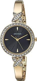 ساعة أرمترون للنساء مرصعة بالكريستال الذهبي وسوار ذهبي 75/5654BKGP