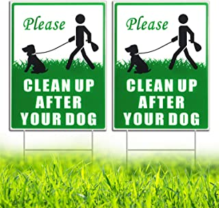 """HISVISION Please Clean Up After Your Dog 2 Pack, 12"""" x 9"""" Yard Sign with Metal Wire H-Stakes Included, No Pooping Dog Lawn..."""