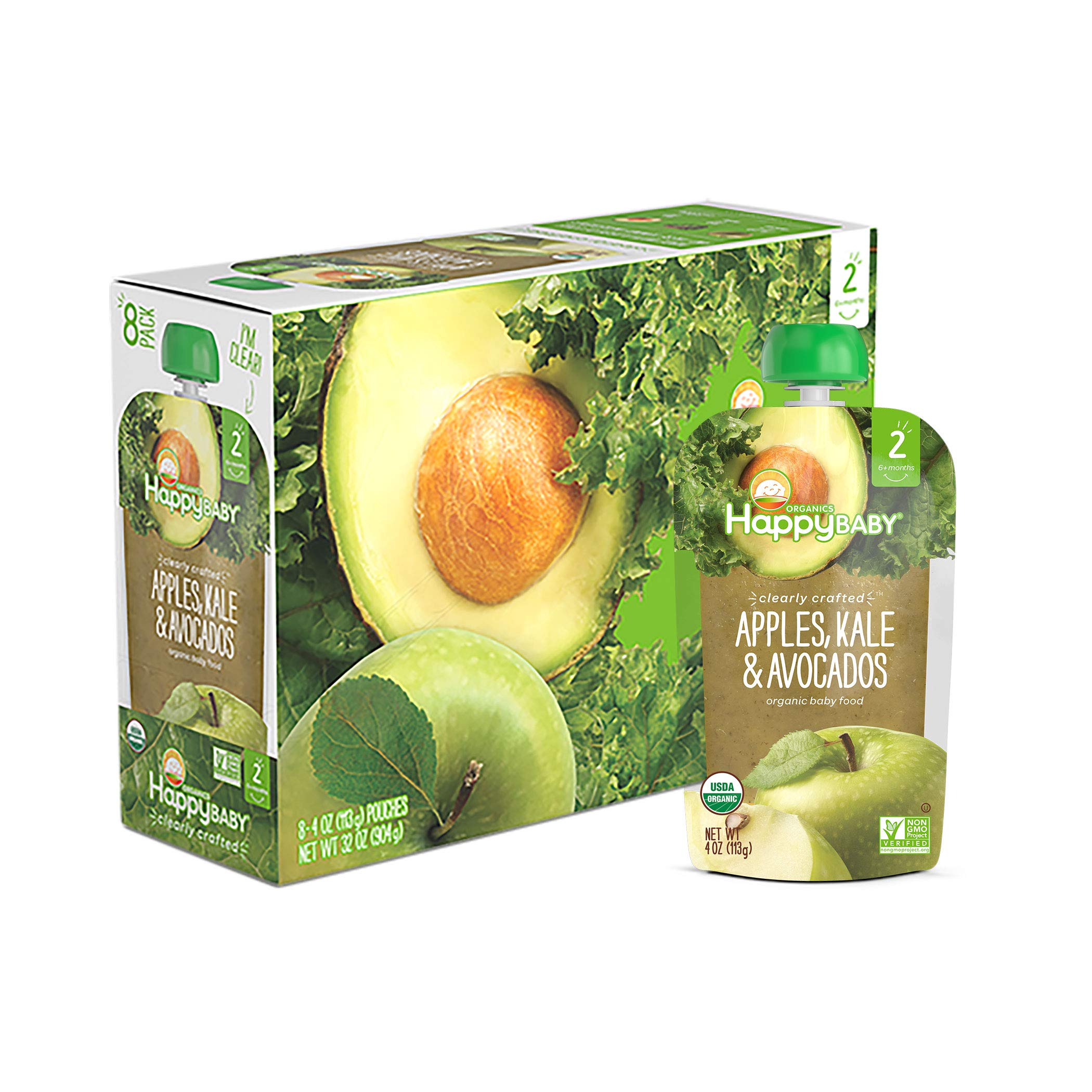 Happy Baby Organics Clearly Crafted Stage 2 Baby Food, Apples, Kale and Avocadoes, 4 Ounce Pouch (Pack of 8)