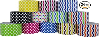 RamPro Chevron & Polka Dot Styles Heavy-Duty Duct Tape   Assorted Colors Pack of 24 Rolls, 1.88-inch x 5 Yard.