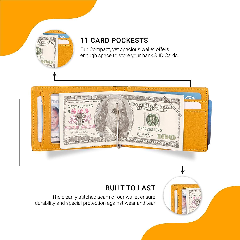 PU Leather RFID Blocking Slim Bifold Minimalist Wallet For Men With Money Clip (Black & Gold)