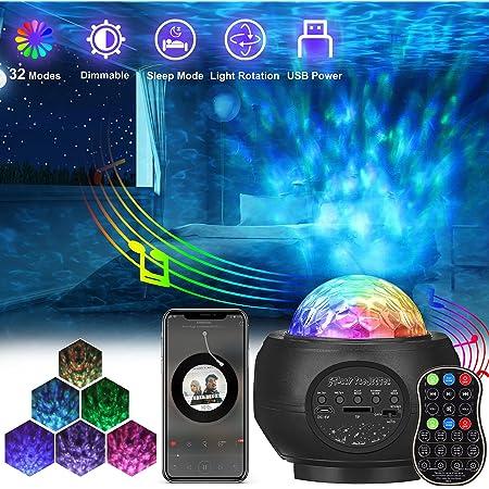 AMBOTHER Projecteur Ciel Etoile Lampe Projecteur LED Musicale avec Haut-Parleur Bluetooth Minuterie Télécommande Luminosité Réglable Projecteur Galaxie Rotatif Adulte BéBé Enfant Lumière Plafond