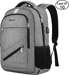 Case of 10, Mancro High School Backpack, Lightweight Anti-Theft Laptop Backpack for Men - Grey