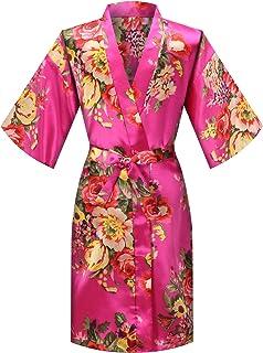 MORFORU Girls Kids Floral Silky Satin Kimono Robe for Wedding Spa Party, Short