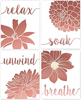 Relax, Soak, Unwind, Breathe Rose Gold & White Bath Flower Poster Prints, Set of 4 (8x10) Unframed Photos, Wall Art Decor ...