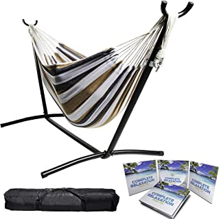 "BACKYARD EXPRESSIONS PATIO · HOME · GARDEN 914921 Two Person Hammock with Stand + Relaxing Audio Track and Luxury Carrying Case, 106"" L x 47"" W x 43"" H, Saharan Nights"