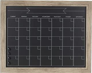 DesignOvation Beatrice Framed Magnetic Chalkboard Monthly Calendar, 23x29, Rustic Brown
