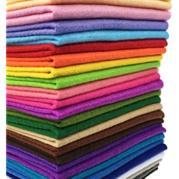 28pcs Thick 1.4mm Soft Felt Fabric Sheet Assorted Color Felt Pack DIY Craft Sewing Squares Nonwoven Patchwork (25x25cm)