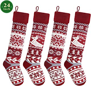 LimBridge Christmas Stockings, 4 Pack 24 inches Extra Long Snowflake Reindeer Knit Knitted Xmas Rustic Personalized Large Stocking Decorations for Family Holiday Season Decor, Cream Burgundy