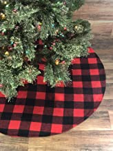 Celebrate A Holiday Christmas Tree Skirt - Premium Quality 48 Inch Diameter Buffalo Plaid Design - 3 Inch Red and Black Buffalo Checks for a Warm Traditional Look - Double Layered Machine Wash and Dry