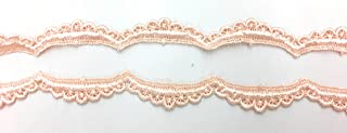 Floral Venice Light Peach Lace Scalloped Trim Bridal Wedding 5 Yards Trim LA 157