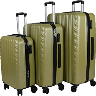 Ozone Set Of Luggage Trolley Bags, 3 Pieces, Green - DR5602