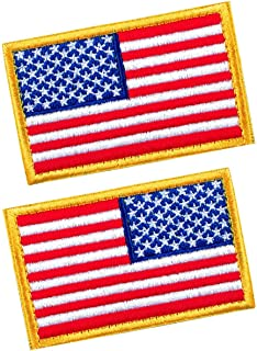 2 PCS Tactical Patches of USA US American Flag Regular and Reverse, with Hook and Loop for Backpacks Caps Hats Jackets Pants, Military Army Uniform Emblems, Size 3x2 Inches