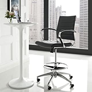 Modway Jive Drafting Chair In Black - Reception Desk Chair - Tall Office Chair For Adjustable Standing Desks - Counter Height Swivel Stool