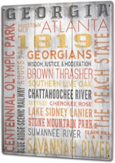 vsdvgsse Tin Sign Holiday Travel Agency Georgia Atlanta Poster for Home Signs Metal Art Decor Wall Plate 8X12 - Made in The USA