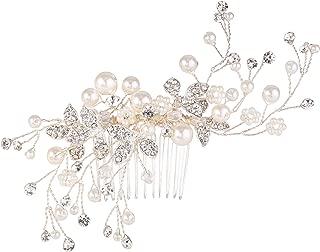BriLove Women's Simulated Pearl Crystal Floral Handmade DIY Bendable Filigree Hair Comb