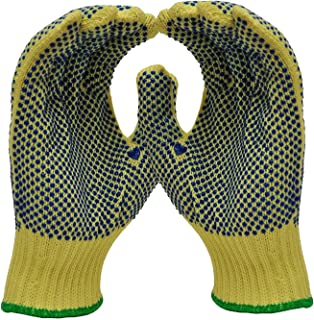 Gloves Cotton Polyester Dotted Work Gloves, String Knit, PVC Dots On Two Sides Work Gloves LPLCUICAN (Color : Yellow, Size : 5 Pairs M)