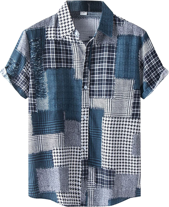 FUNEY Hawaiian Shirt for Mens Short Sleeves Printed Button Down Summer Beach Dress Shirts Fashion Casual Poplin Shirt Tops