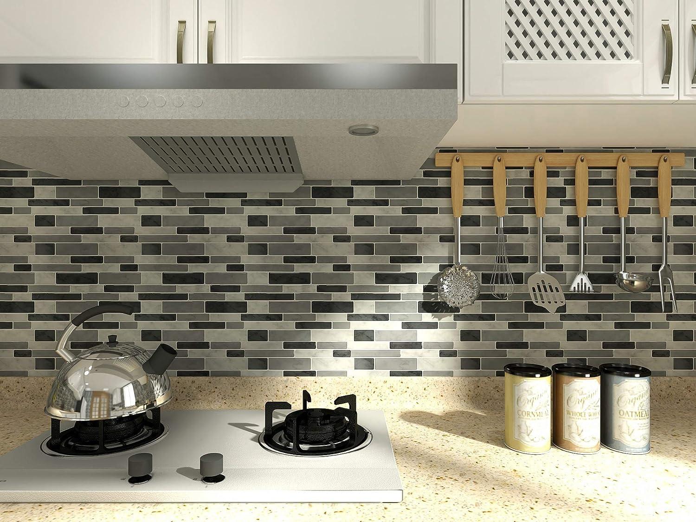 10 Sheets Gray Decorative Tile Peel /& Stick Backsplash Tile for Kitchen