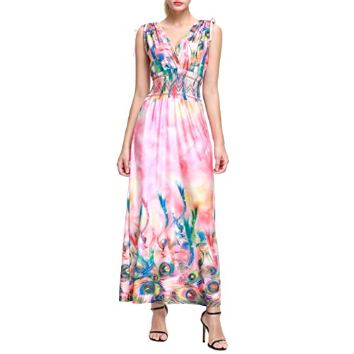 18af4ac9728 Wantdo Women s Deep V Printed Floral Bohemian Casual Holiday Maxi Dress for Women  Plus Size