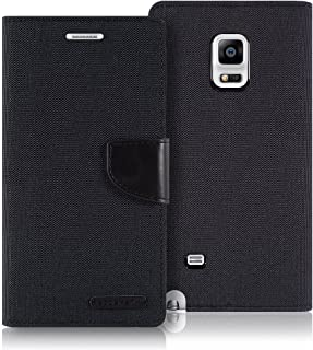 Goospery Canvas Wallet for Samsung Galaxy Note Edge Case (2014) Denim Stand Flip Cover (Black) NT4E-CAN-BLK