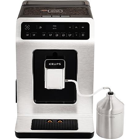 KRUPS Evidence Silver avec pot à lait inox Machine à café à grain Machine à café broyeur grain Machine expresso automatique Mousseur à lait Cappuccino Espresso Nettoyage automatiqueEA891D10
