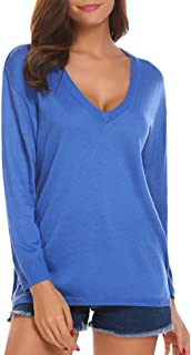 SoTeer Womens V-Neck Pullover Sweatershirt Lightweight Loose Fit Blouse Tops