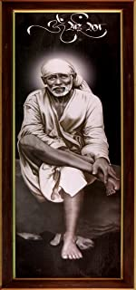 HandicraftStore Lord Sai Baba Sitting on Rock Stone Wearing White Cloths, a Hindu Religious Poster for Home/Officice/ Religious and Gift Purpose