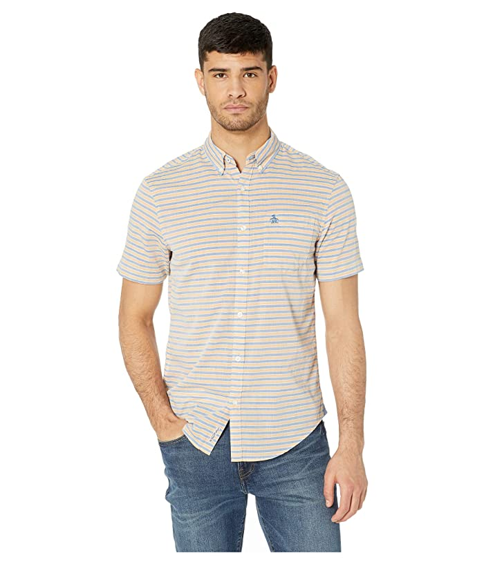 Original Penguin Mens Short Sleeve Core Poplin Button Down Shirt with Stretch
