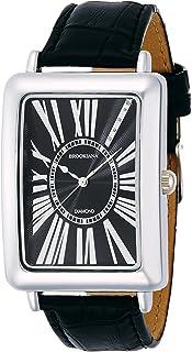 [ブルッキアーナ]BROOKIANA 腕時計 クオーツ 天然ダイヤモンド レクタンギュラーケース ローマインデックス ブラック×ブラックレザー BA5102-SVBKBK メンズ 腕時計