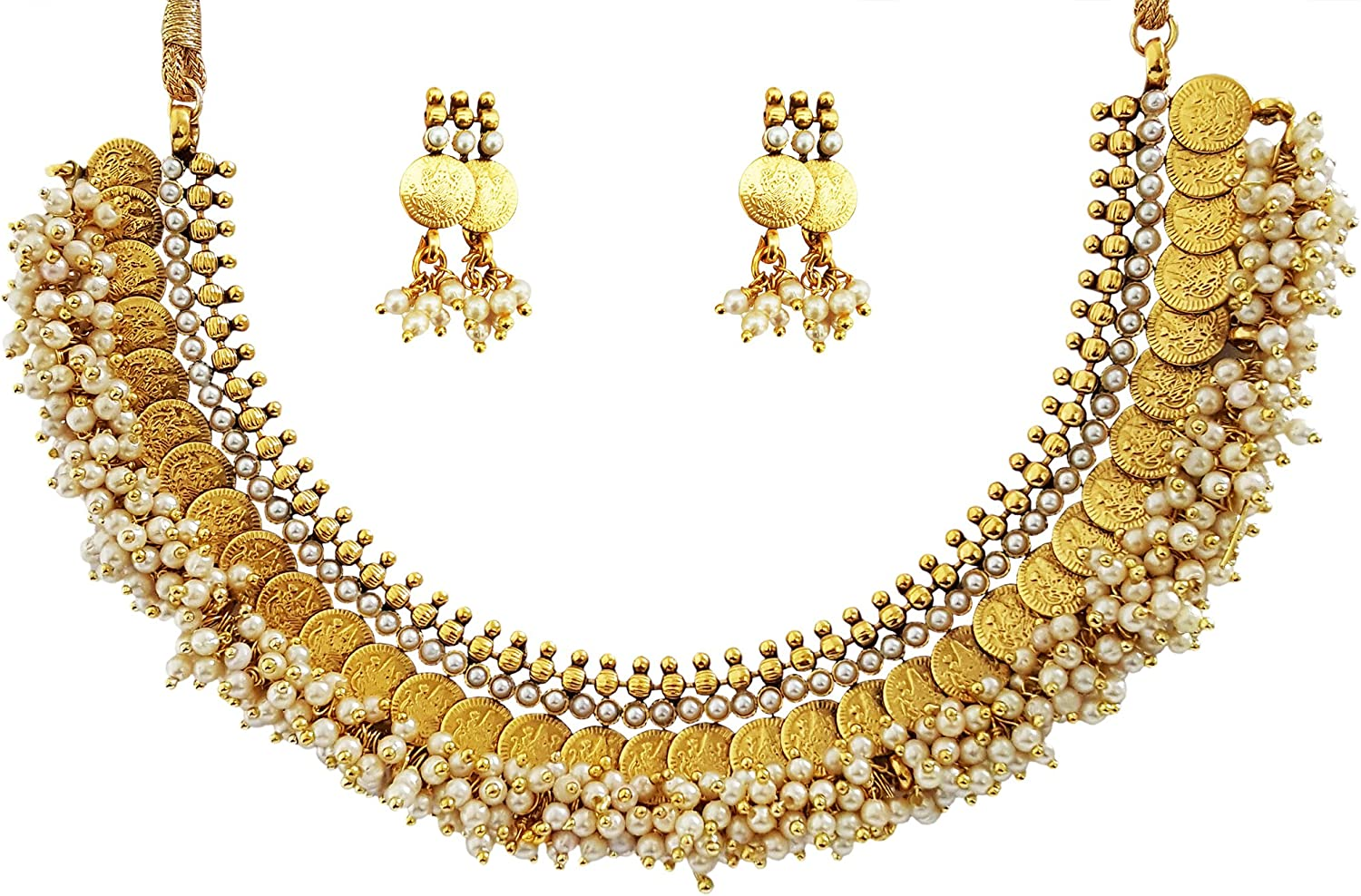 Mehrunnisa Traditional Gold Tone Lakshmi Coins & Pearls Necklace Earrings Set for Women (JWL1540)