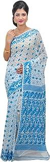 SareesofBengal Women's Cotton Silk Handloom Dhakai Jamdani Saree (JA069, White, Blue, Multicolour)
