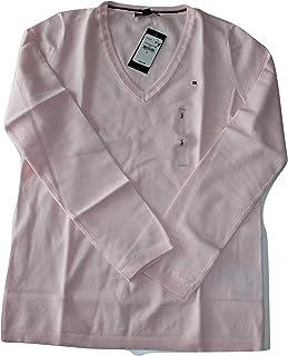 6e036de41 Tommy Hilfiger Women Pima Cotton Solid V-Neck Logo Sweater