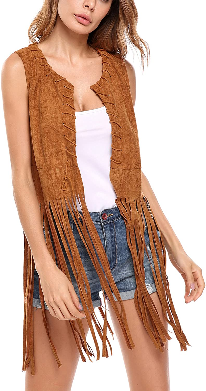 Hotouch Women Fringe Vest Faux Suede Tassels 70s Hippie Clothes Open-Front Sleeveless Vest Cardigan Female