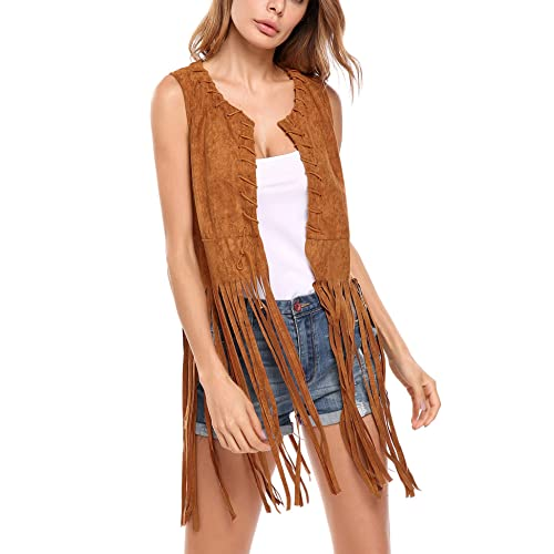 1381e2481b5 Hotouch Women Fringe Vest Faux Suede Tassels 70s Hippie Costume Open-Front  Sleeveless Vest Cardigan
