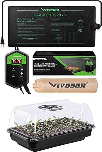 """lowest VIVOSUN high quality Heating online sale Seedling Starter Germination Kit and 10""""x20.75"""" Seedling Heat Mat and Digital Thermostat Combo sale"""