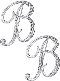 Tatuo 2 Pieces A - Z Alphabet Brooches English Letter Rhinestone Pin for Collar Shawl Lapel Embellishment, Silver