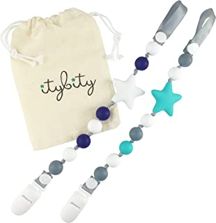 Pacifier Clip Boy, BPA Free Silicone, Use with Any Pacifier or Teether, 2 Pack (Navy/White/Turquoise/Gray)